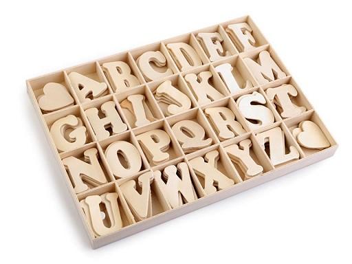 Samolepicí dřevěná písmena v krabici
