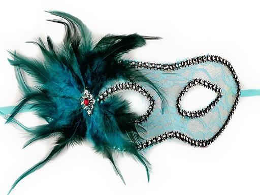Karnevalová maska - škraboška krajka s peřím