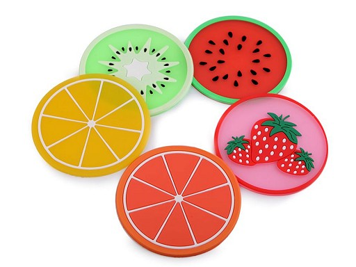 Silikónová podložka citrón, pomaranč, melón, kiwi, jahoda Ø9 cm