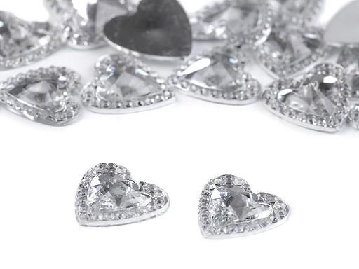 Broušené srdce a kamínky k nalepení