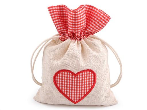 Dárkový pytlík srdce 12,5x17,5 cm
