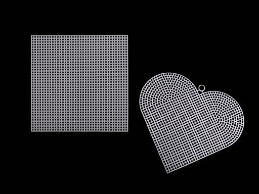 Plastová kanava / mřížka vyšívací srdce, čtverec