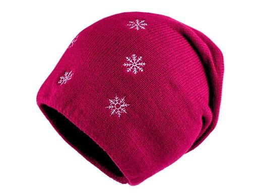 Dívčí zimní čepice s vločkami, svěšená