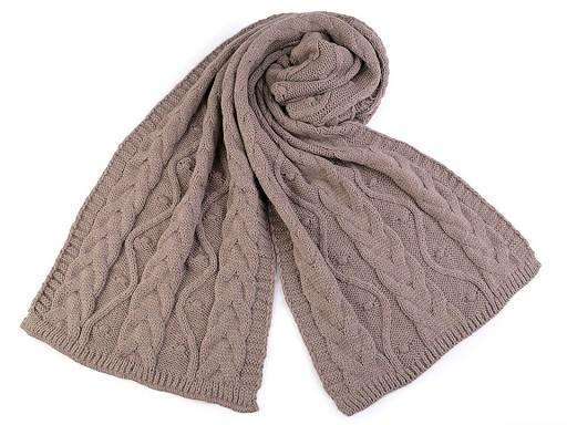 Pletená zimní šála s copy