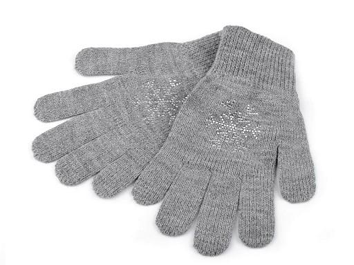 Dámské pletené rukavice vločka s kamínky Capu
