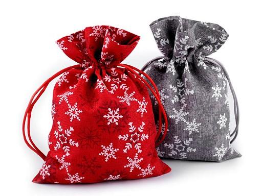 Vánoční dárkový pytlík vločky 13x18 cm
