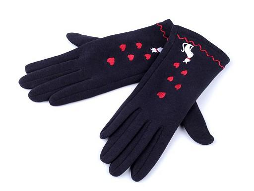 Dámské úpletové rukavice kočka