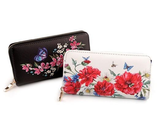 Dámská peněženka květy 10x19 cm