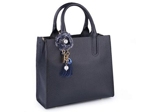 Kožená kabelka s přívěskem - dovoz Itálie 25x28,5 cm