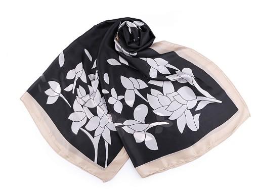 Saténová šála s květy 90x180 cm
