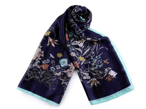 Saténová šála s lučními květy 90x180 cm
