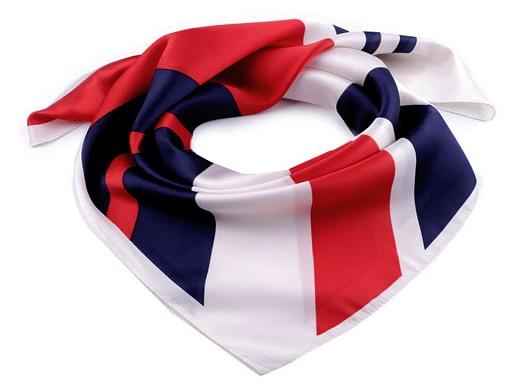 Saténový šátek s pruhy 70x70 cm