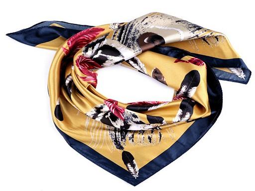 Saténový šátek pírka 60x60 cm