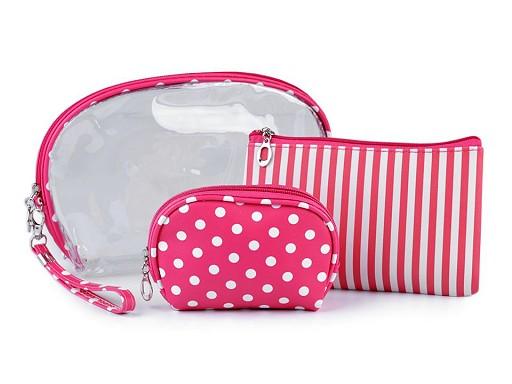Kosmetická taška průhledná, proužkovaná a puntíkovaná, sada 3 ks