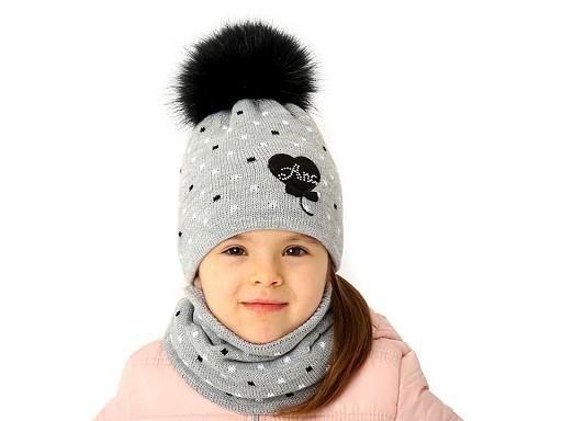 Dívčí zimní sada čepice s bambulí a nákrčník