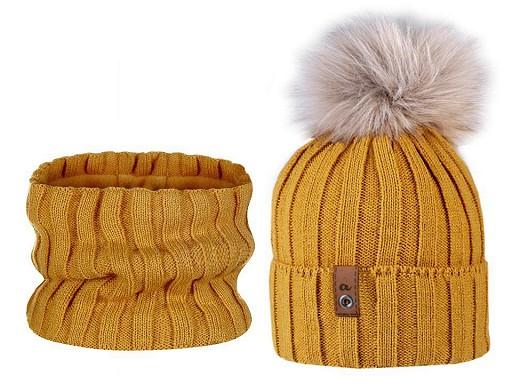 Dámská zimní sada čepice s bambulí a nákrčník