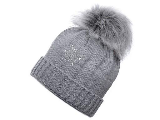 Damen Wintermütze mit Pompon und Schneeflocke Capu