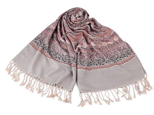 Šátek / šála typu pashmina s třásněmi 70x180 cm
