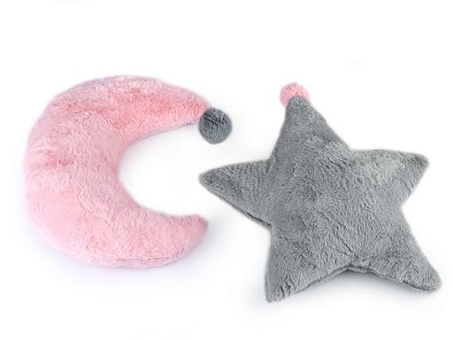 Dekorační polštář s výplní měsíc, hvězda