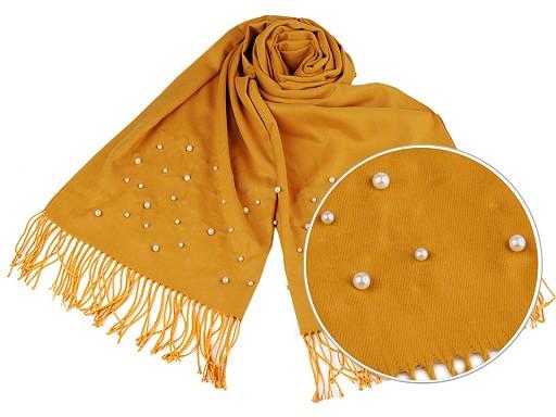 Šál typu pashmina s perlami a strapcami 65x180 cm