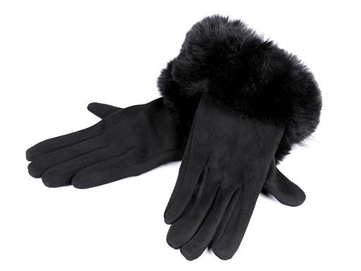 Dámské rukavice s umělou kožešinou