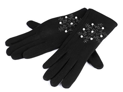 Dámske rukavice vločka s kamienkami a perlami