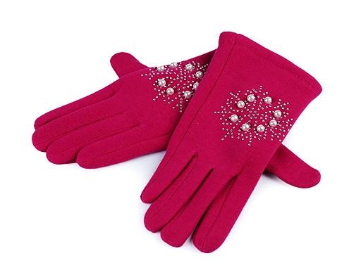 Rękawiczki dziewczęce śnieżynka z kamyczkami i perełkami