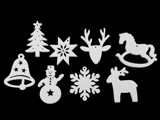 Drevené dekorácie vianočná vločka, hviezda, stromček, zvonček, koník, sob na zavesenie / na nalepenie