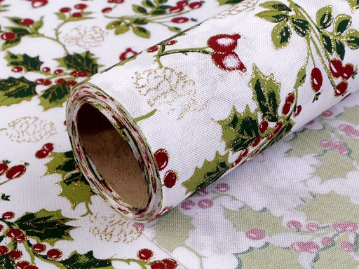 Decorative Fabric width 48 cm Holly Twig with Glitter