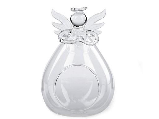 Skleněný anděl 8x12 cm aerárium