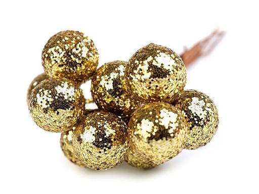 Vánoční dekorační kuličky s glitry a drátkem Ø12 mm