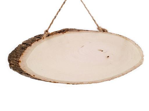 Dřevěný ovál / cedulka s kůrou k dotvoření