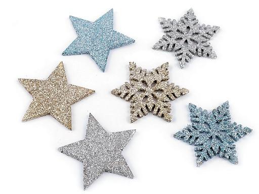 Hvězdy, vločky s glitry malé