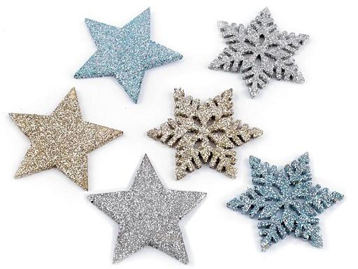 Hvězdy, vločky s glitry velké