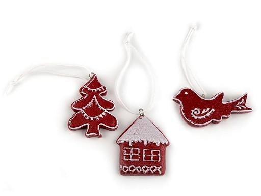 Vánoční dekorace - stromeček, domeček, ptáček