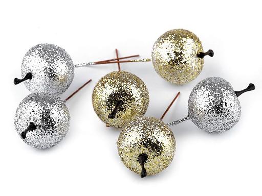 Vánoční dekorace jablko s glitry