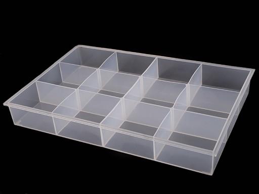 Pojemnik plastikowy z przegródkami / organizer 23x34,5x4,5 cm