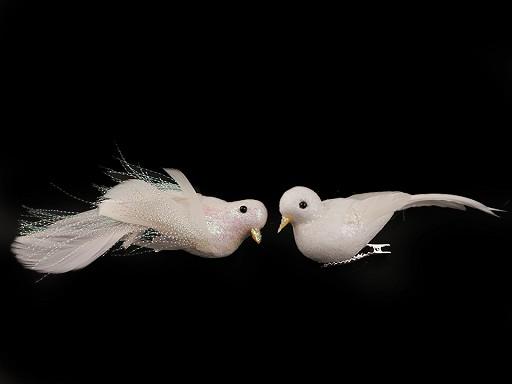 Dekorace ptáček s glitry a klipem
