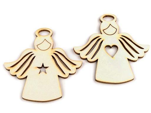Dřevěný anděl 77x78 mm