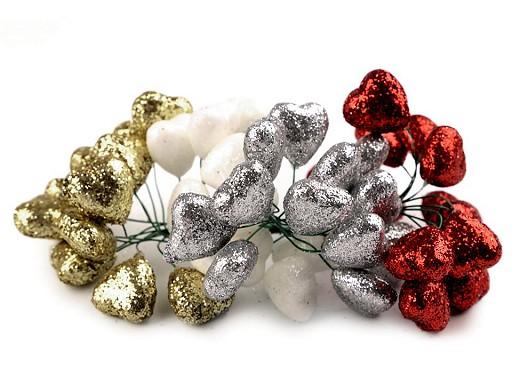 Vánoční srdce na drátku s glitry Ø19 mm