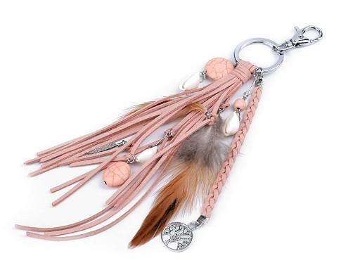 Přívěsek na kabelku / klíče - pírko, strom života