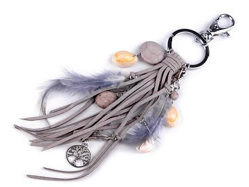 Brelok / zawieszka do torebki / kluczy - piórko, drzewo życia