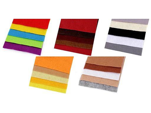 Barevná sada dekorativních filců / plstí 10x45 cm