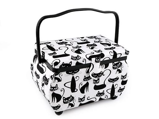 Kazeta / košík na šitie čalunený mačka, bodky