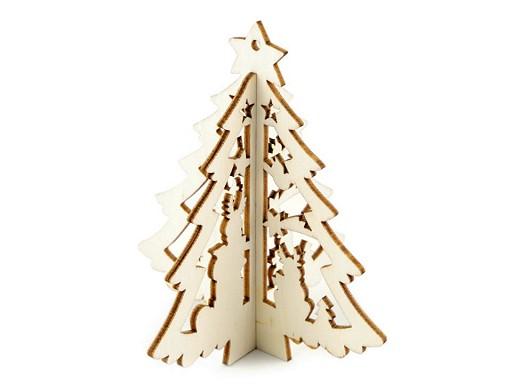 Vánoční dřevěná ozdoba / výřez 3D stromeček