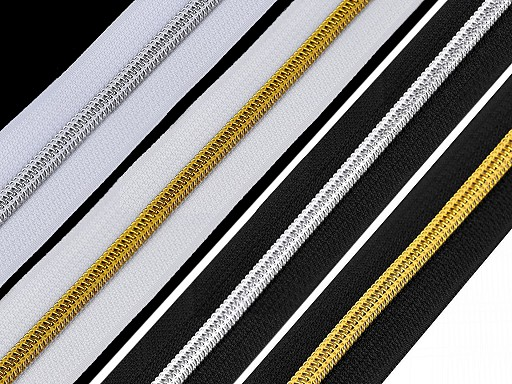 Zip spirálový šíře 6 mm s metalickými zoubky metráž