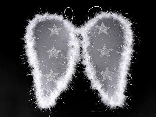 Anjelské krídla s perím a glitrovými hviezdami