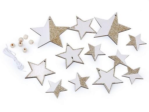 Dřevěná dekorace anděl, hvězda