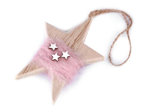 Dřevěná hvězda k zavěšení 7x10,5 cm