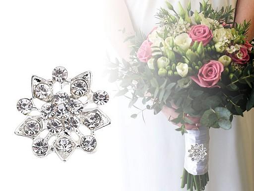Brož s broušenými kamínky květ, vločka
